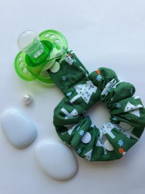 Bracelet porte sucette tissu coton Vert sapin