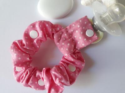 Pink lollipop holder bracelet with white dots