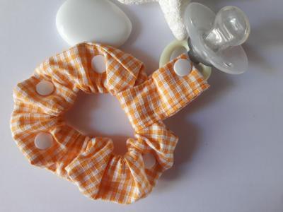 Bracelet porte sucette vichy orange