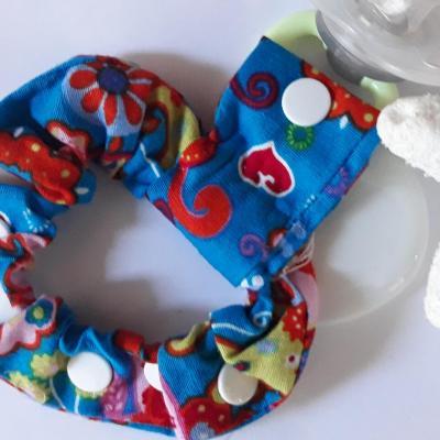 Bracelet pour tétine bleu imprimés fleuris