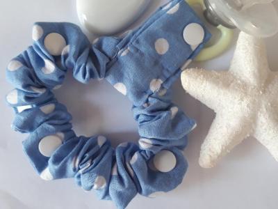 Bracelet 100 % cotton blue dots white