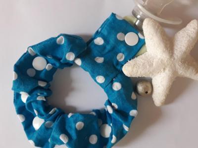 Bracelet porte sucette bleu pois blancs
