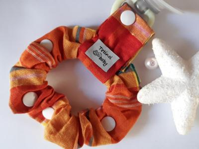 Pacifier clip in 100% cotton fabric, madras color