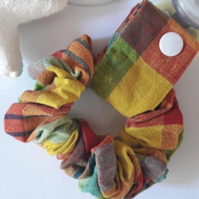 Bracelet porte sucette madras orange