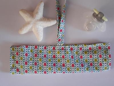 Bracelet porte sucette coton mosaique lacet scratch