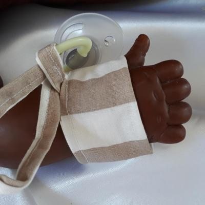 Bracelet porte sucette blanc marron