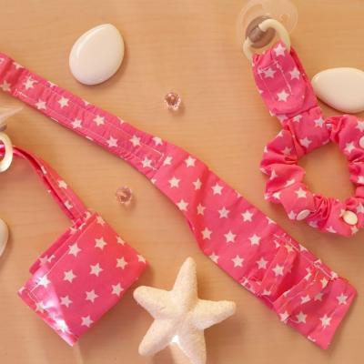 Pack 3 bracelets porte tétine rose