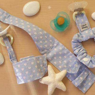 Trio bracelets bleus coeurs blancs