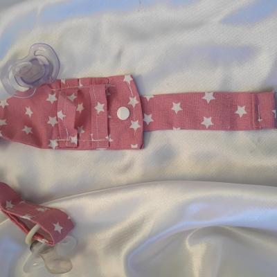 2 porte tétine rose + attache vêtement par clip