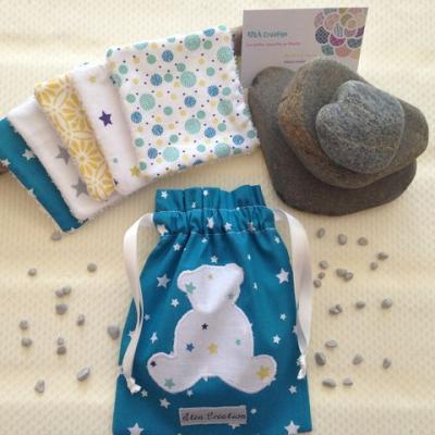 Blue pouch with cotton wipes